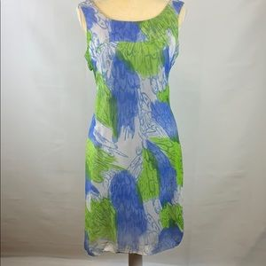 Vintage Green and Blue Patterned Tank Dress
